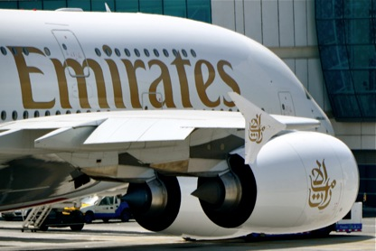 Emirates A380 parked at Dubai